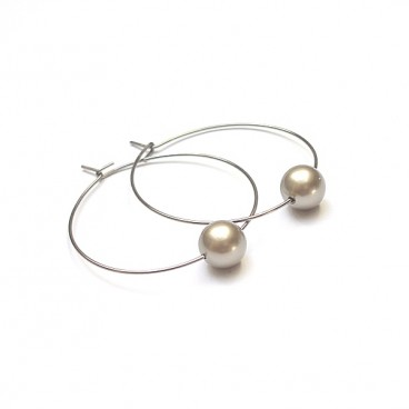 Alloys Collection /one pearl/ beige kolczyki