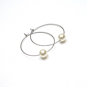 Alloys Collection /one pearl/ creme rose kolczyki