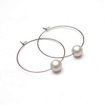 Alloys Collection /one pearl/ l.grey matt kolczyki