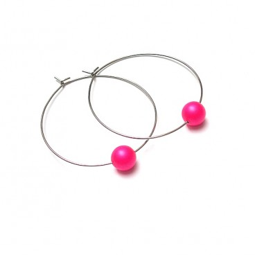 Alloys Collection /one pearl/ neon pink - kolczyki