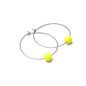 Alloys Collection /one pearl/ neon yellow - kolczyki