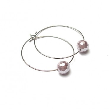 Alloys Collection /one pearl/powder violet fasette kolczyki