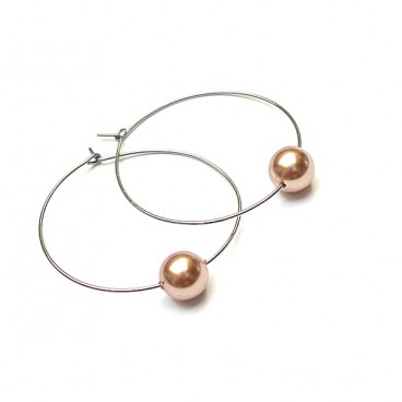 Alloys Collection /one pearl/ rose gold - kolczyki