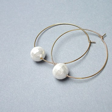 Alloys Collection /one pearl/white vol. 3 - kolczyki