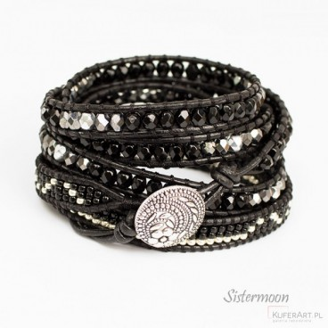 Bransoleta Boho Black and Silver