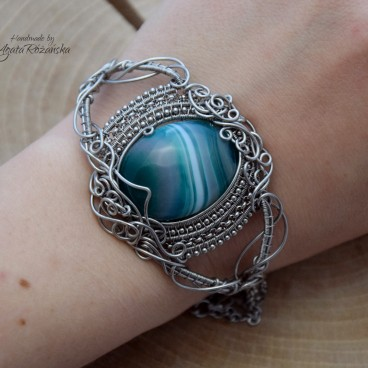 Bransoletka agat zielony, wire wrapping, stal chirurgiczna