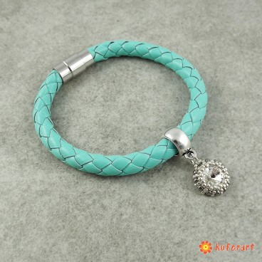 Bransoletka Magnetic Leather - Turquoise with Crystal