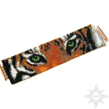 Eye of the Tiger, szeroka wyplatana bransoletka, beading