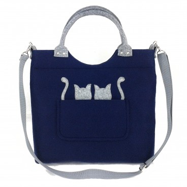 Gray cats on navy blue/strap