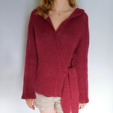 Kardigan red wine color, kardigan sweter