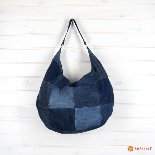 Torba Hobo denim patchwork
