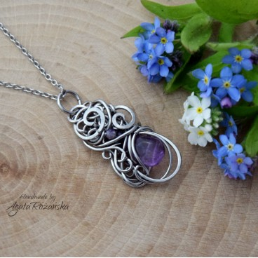 Wisiorek ametyst, wire wrapping, stal chirurgiczna