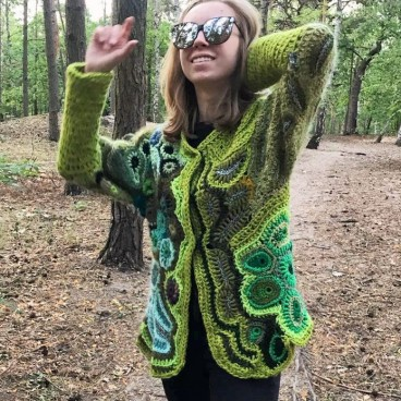 Zielony cardigan freeform crochet